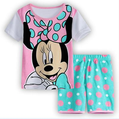 kids Pajamas Short Sleeve cotton sleepwear Set summer Cartoon girls